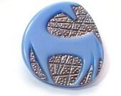 Blue Horse Czech Moonglow Glass Collectible Button Beautiful Detail