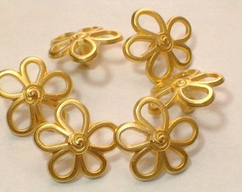 Gold Flowers Pretty Metal Buttons 19mm Set 6 Metal Loop Shanks 1980's