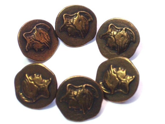 Ancient Style Head Buttons Soldier Antiqued Brass Color Metal with Shanks Set 6