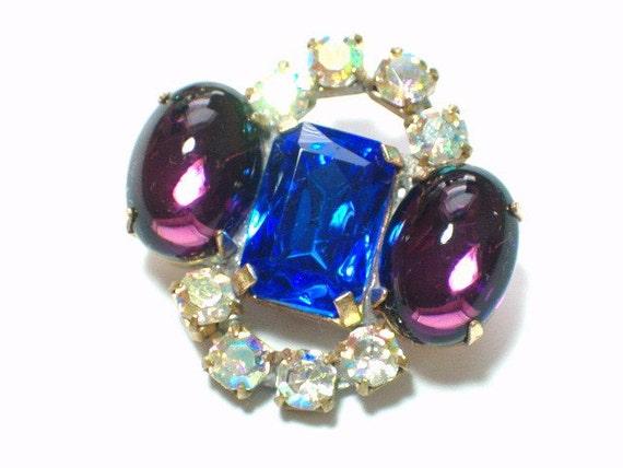 Vintage Purple Blue AB Glass Rhinestone Button 27mm Embellishment Metal Setting