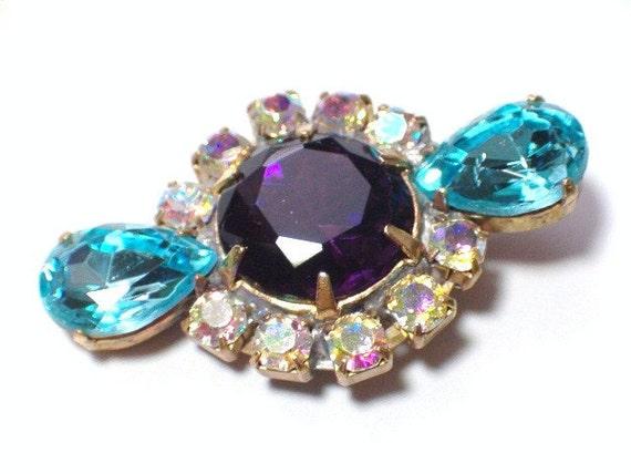 Vintage Purple Aurora Borealis Glass Rhinestone Button 27mm Embellishment Aqua Blue Stones