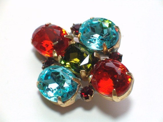 Vintage Red and Blue Glass Rhinestone Button 32mm Embellishment Metal Setting