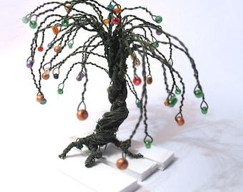wire tree statue - green wire multicolor beads art tree - minimal home decor