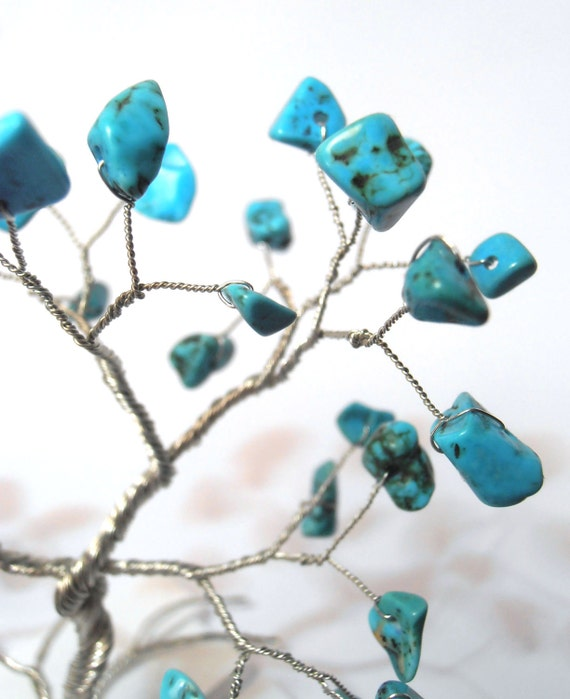 turquoise gemstone blue silver tree of life wire tree sculpture december birthstone home whimsical minimalistic decor hostess gift under 25