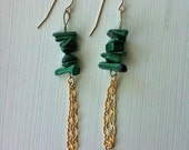 1 pr. ON HOLD for SARA malachite and gold dangly earrings