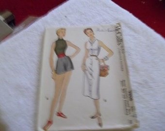 mccalls pattern number 9806  from 1954  vintage skirt pattern size 14