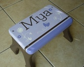 Personalized, Step Stool, Wooden, Wood, Alder, Stiped, Lavender, Purple, Childrens Tip-Resistant, Stepstools by LaffyDaffy on Etsy