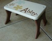 Step Stool - Flowers Wooden Personalized Stool- Tip-resistant Step Stools by Laffy Daffy on Etsy