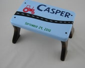 Wood Step Stool - Tractor Personalized Blue Stool - Tip-resistant Step Stools by Laffy Daffy on Etsy