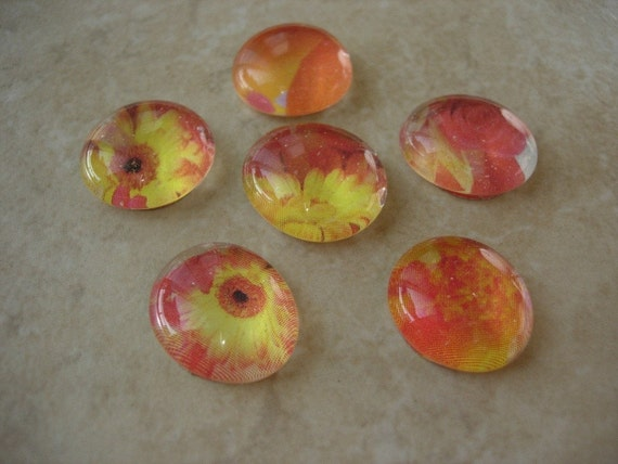 Magnets or Push Pins - Set of 6 - Glass Marbles - Red, Orange, Yellow Flowers