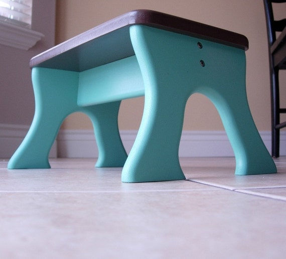 Kids Step Stool Safe Tip Resistant Turquoise And Brown