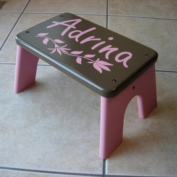 Personalized Step Stool Furniture Wooden Wood Brown
