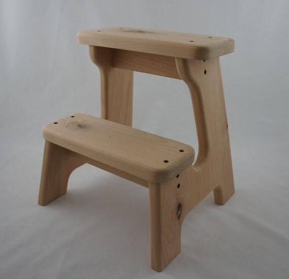 items similar to unfinished alder step stool wooden wood children 39 s tip resistant handmade. Black Bedroom Furniture Sets. Home Design Ideas