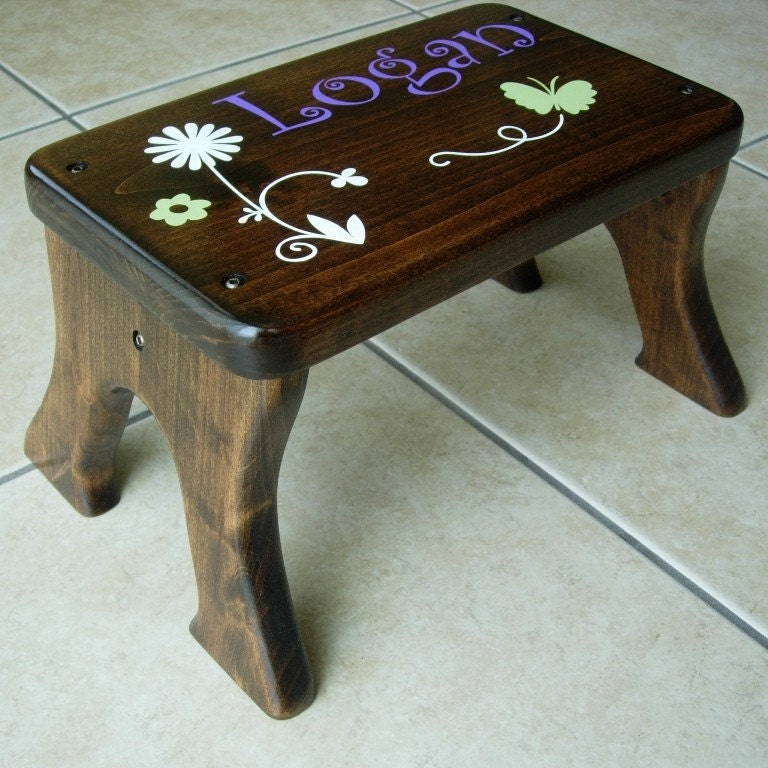 Personalized step stool wooden wood alder dark stain