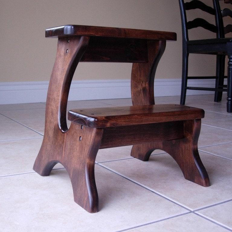 wooden step stool alder dark stain children 39 s. Black Bedroom Furniture Sets. Home Design Ideas