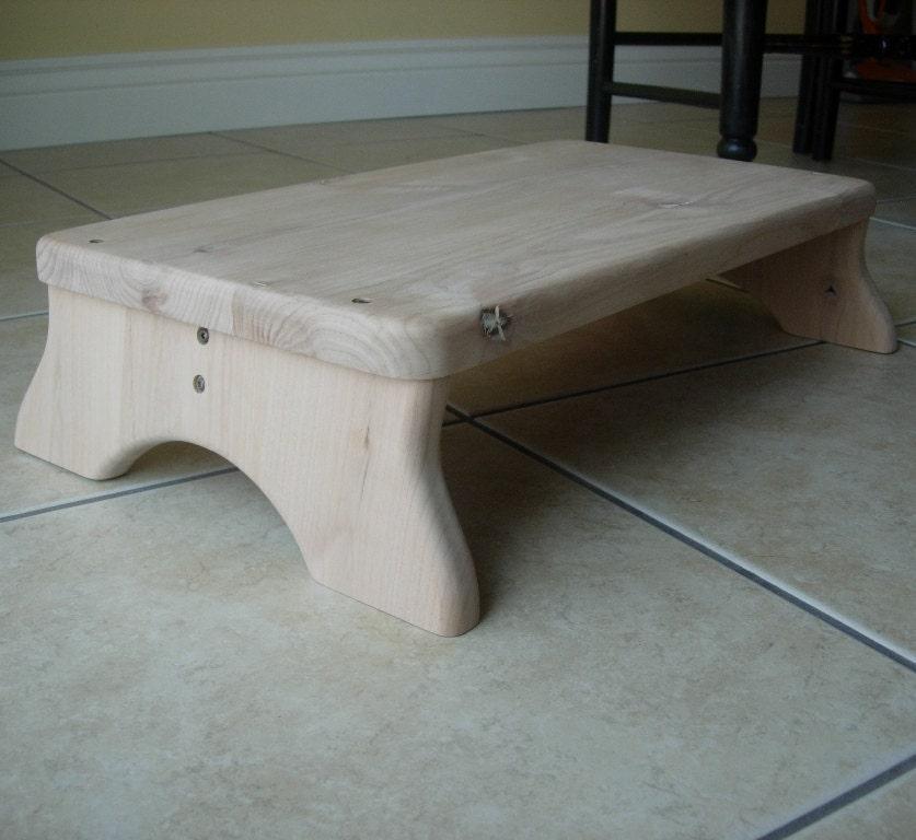 Large Platform Step Stool Wooden Wood Alder Unfinished