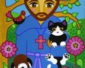 Saint FRANCIS of Assisi with Dog and CAT Art PRINT from Original Folk Art Painting - by Jill