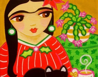 FRIDA Kahlo and Black CAT Christmas Folk Art PRINT from Original Painting by Jill