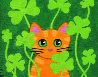 Orange Tabby CAT in SHAMROCKS Folk Art PRINT from Original Painting by Jill