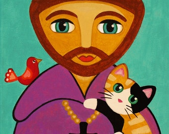 Saint FRANCIS of Assisi and CATS Art PRINT from Original Painting by Jill
