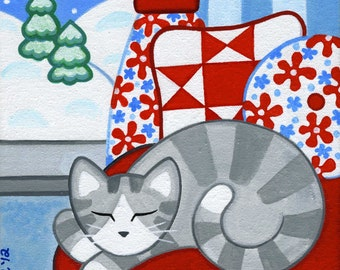 Gray Tabby CAT & Pillows Folk ART PRINT from Original Painting by Jill