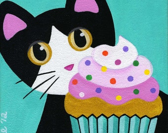 Tuxedo CAT and CUPCAKE with Pink Frosting & Sprinkles Folk Art PRINT from Original Painting by Jill