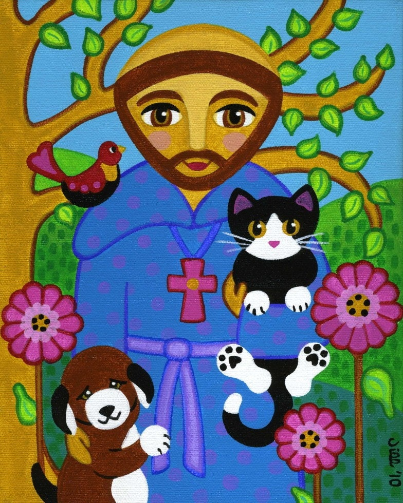 Saint Francis Of Assisi With Dog And Cat Art Print From