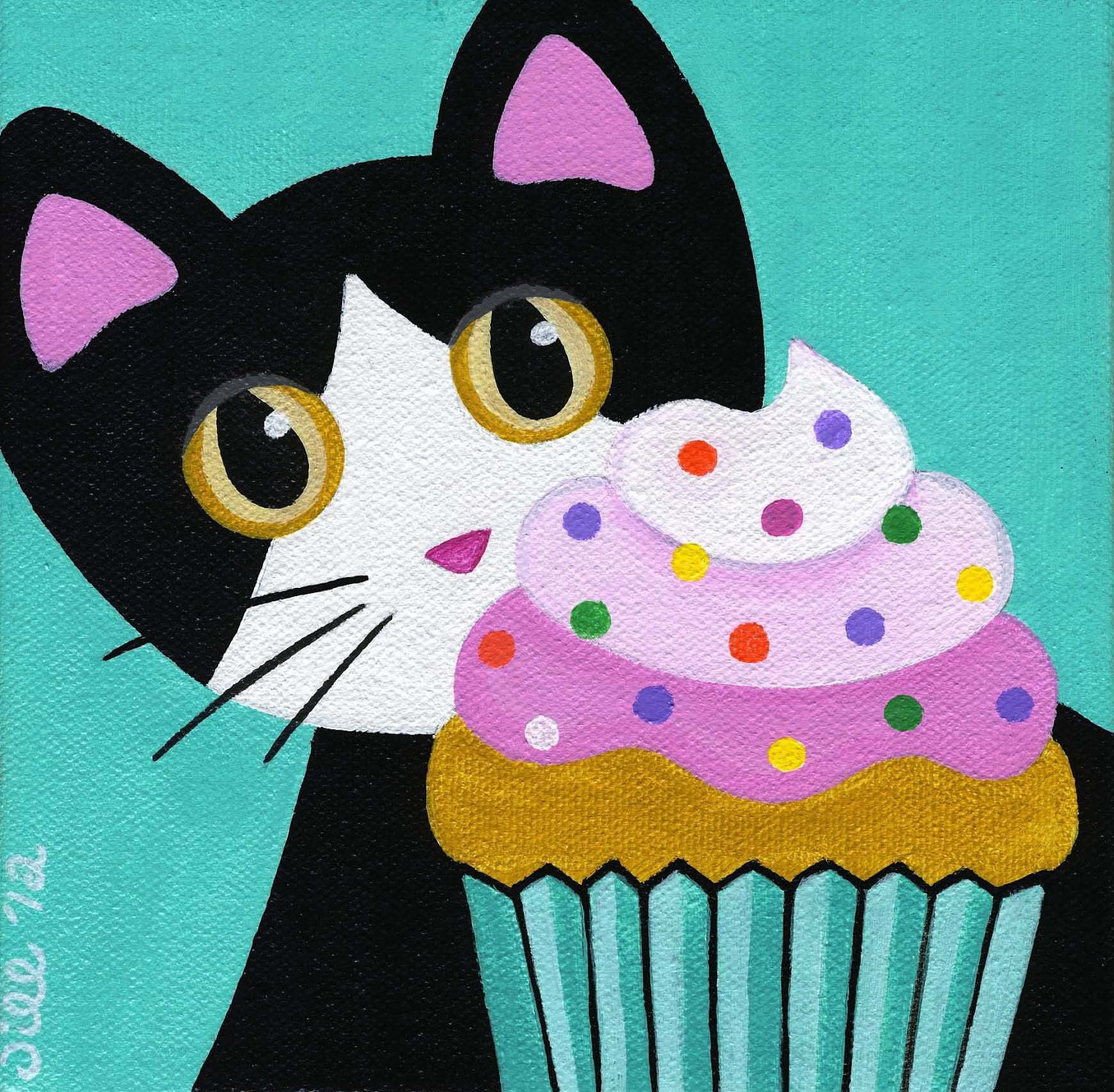 Tuxedo Cat And Cupcake With Pink Frosting Amp Sprinkles Folk Art