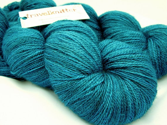 Hand Dyed Laceweight  BFL/ Silk Yarn - Turning Tide