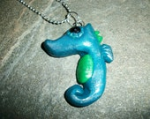 Sea Horse Charm in Metallic Blue and Kelly Green Hand Made by Moonknightjewels