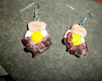 Breakfast Special Earrings Eggs, Bacon and Toast