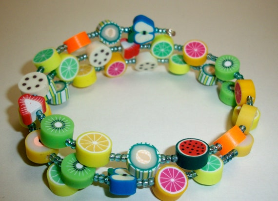 Fruit Salad Memory Wire Bracelet Colorful Free USA Shipping Hand Made by Moonknightjewels