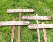READY TO SHIP rustic 4 Barnwood Wedding Signs Stakes direction country his and hers signs message date thank you card chair party sign