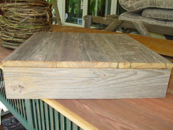 15x15 rustic cupcake Cake Box Stand Plate Barnwood Primitive Reclaimed Marriage Vintage Wedding country