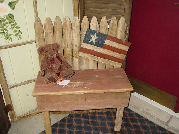 Country Primitive Picket Fence Bench Barn Wood Garden Porch