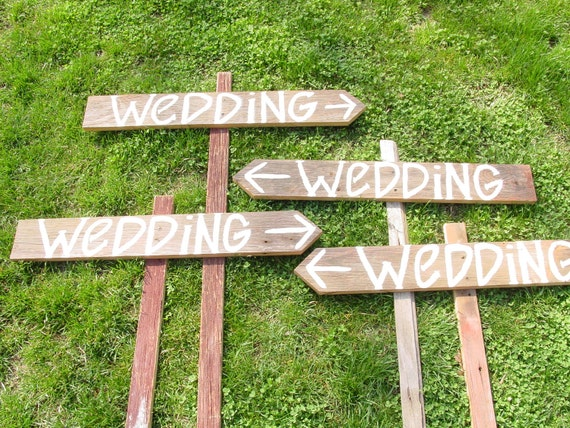rustic 4 Barnwood Wedding Signs w/ Stakes direction country western name tags directional READY TO SHIP