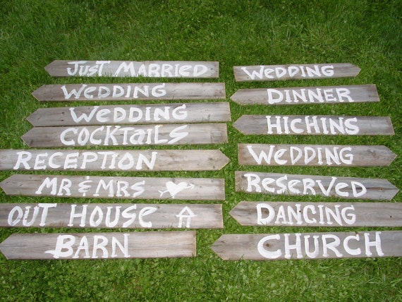 READY TO SHIP 15 signs Barn wood Wedding Sign direction directional country western rustic reclaimed