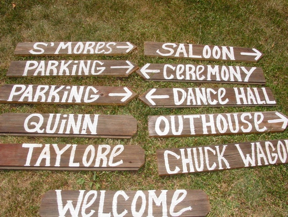 NAME YOUR SIGN rustic 6 Barn wood Wedding Signs w/ Stakes  directional country western