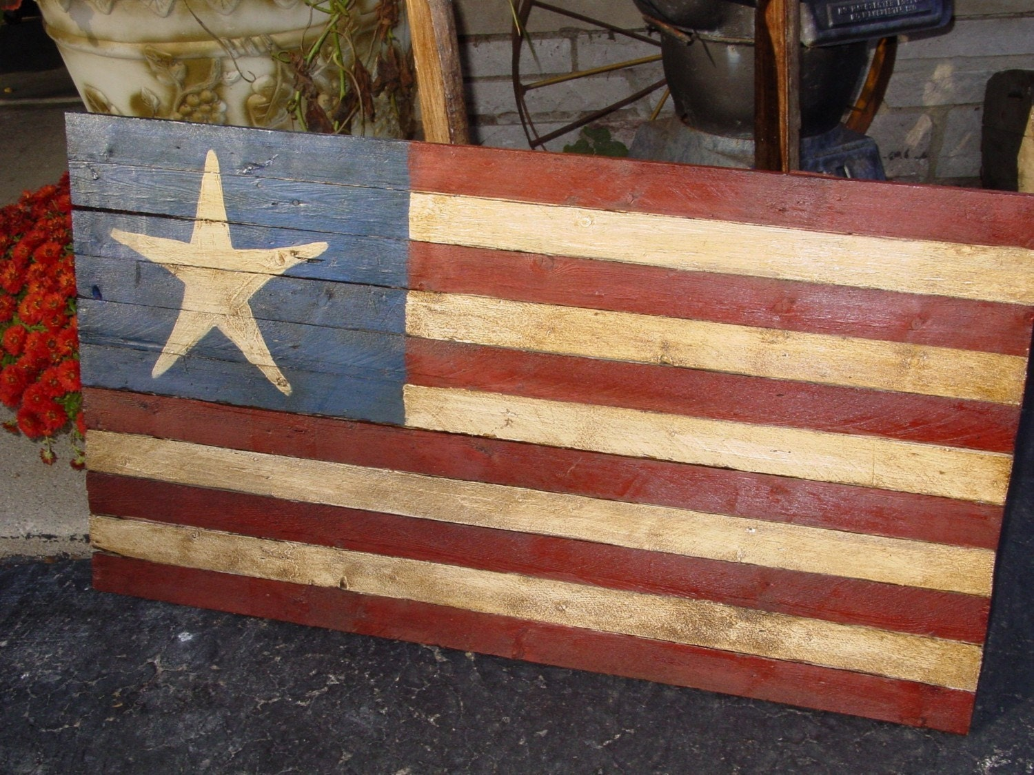 Rustic Star Country Decor Folk Art American Flag Wood 33 X 18