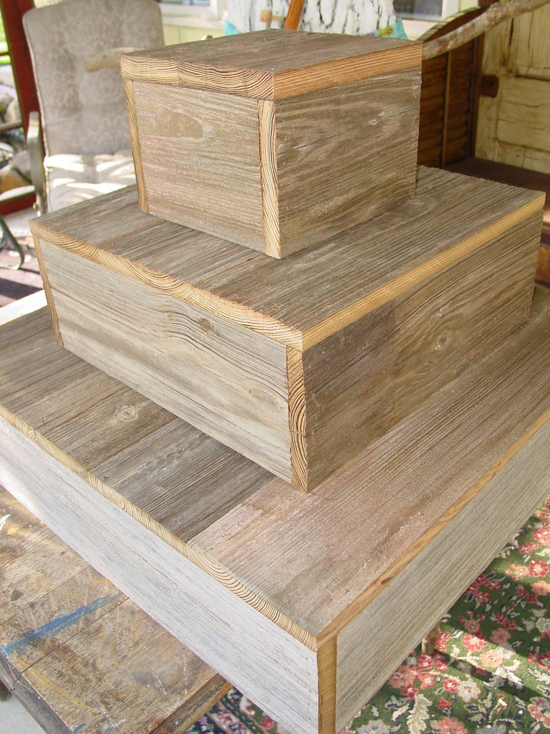 3 tier wood cake stand rustic wedding cupcake Box Plate Barn