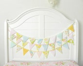 Pastel  Fabric Bunting Pennant Garland Decoration 9 Feet / Romantic Vintage Carnival Style