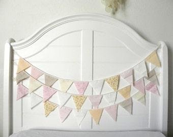 Peach Muslin and Burlap Fabric Bunting Pennant Garland Decoration 9 Feet / Romantic Vintage Carnival Style
