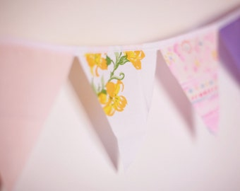 Single Strand Your Choice Vintage Fabric Bunting, Garland, Banner, Pennant Decoration 3 Feet