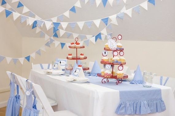 Blue Gingham Bunting Garland