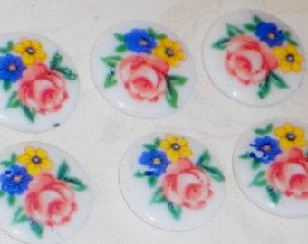 Vintage Cabochons Limoges pink Roses Rose Floral Flowers Round 7mm Flat JAPAN. #1259U