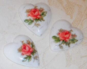 Vintage Cabochons Limoges Cabs Roses Heart Japan OLD N1141j