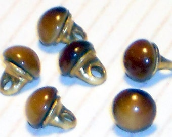 N1105B Vintage Doll Buttons Doll Clothing Tiny Clothes Embellishment Glass Vintage Amber Doll buttons Moonstone Beads 3mm old