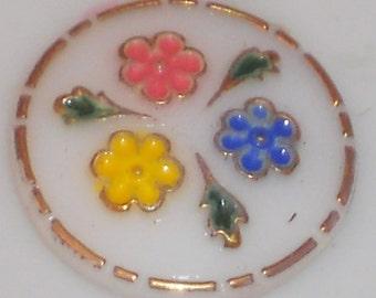 N1141e Vintage Cabochon Glass Floral Flowers Cab Art Nouveau Deco Shabby Yet Chic Rose