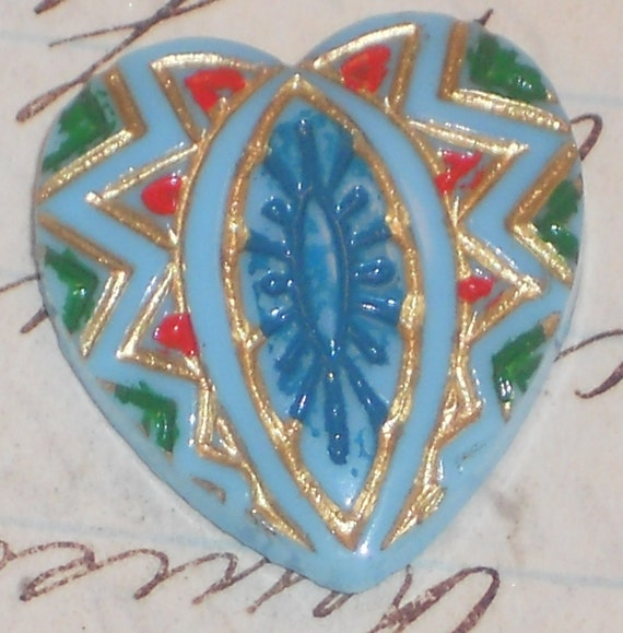Vintage cabochon Glass Heart Handpainted Painted Carved Pressed Blue Mosaic Rare