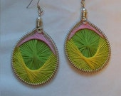 Lime Green, Bright Yellow and Playful Pink Handmade Peruvian Thread Earrings - Sterling silver